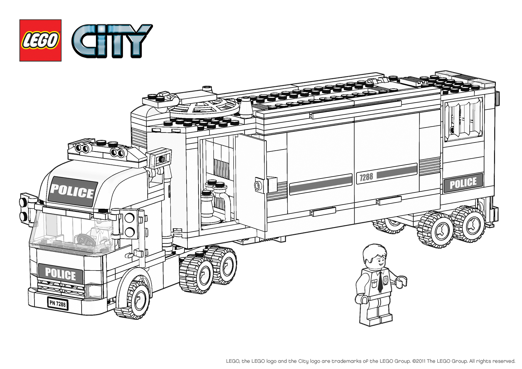 free coloring pages of lego city police car